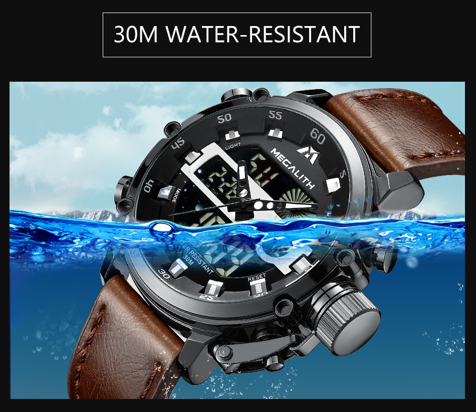 IsMyStore: MEGALITH Men Sport Watch Luminous Waterproof Quartz Watch Men Multifunction Chronograph Wrist Watch Dropshipping Wholesale Price