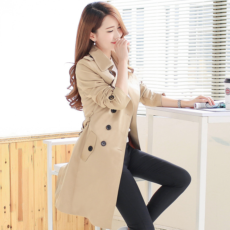 Women Spring Autumn Trench Coat Fashion Casual Long Sleeve Slim Double Breasted