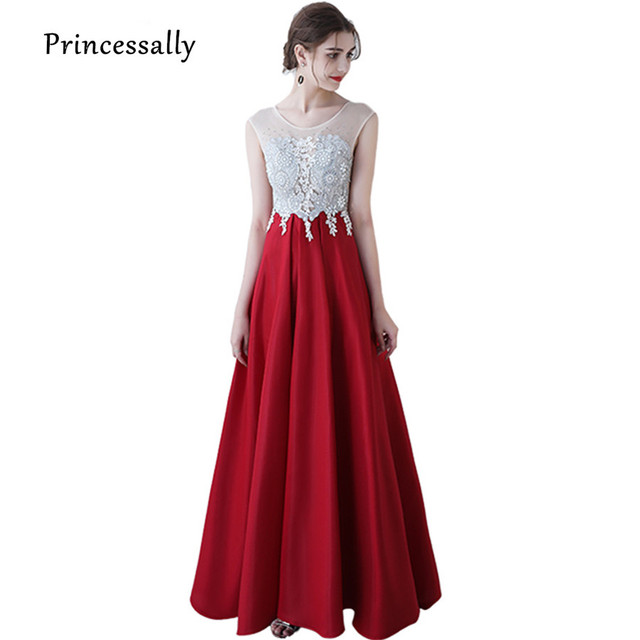 Vestido Longo New Wine Red Long Evening Dress With Sheer Top Lace Beading  Elegant Bride mariage Formal Satin Prom Party Gown 4c6d013dd819