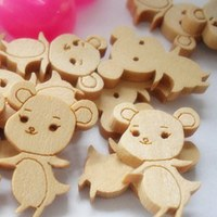 500pcs DIY wooden buttons burlywood little mouse shapes clothes scrapbook button for craft sewing accessories 18*25mm 002002012