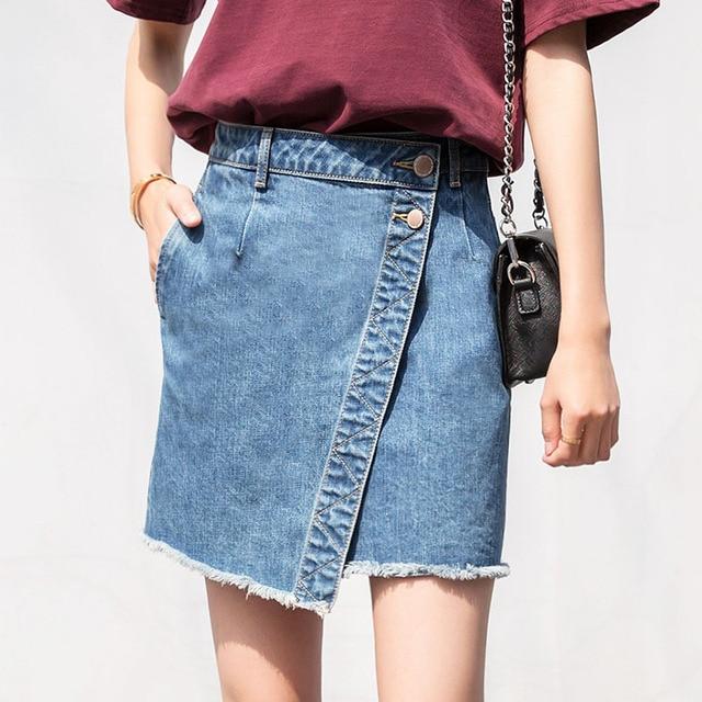 CTRLCITY Асимметричная юбка Для женщин юбка с бахромой модные джинсы Высокая Талия Тонкий Для женщин юбки Повседневное длиной выше колена мини-линии