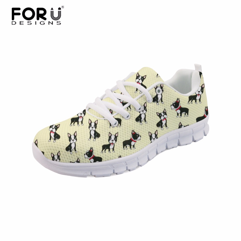 FORUDESIGNS Girls Sneaker Boston Terrier Flower Dog Pattern Woman Casual Shoes Breathable Sneakers Fashion Mesh Sneakers Shoes