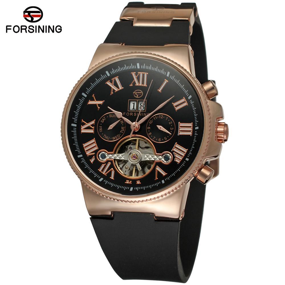 FORSINING Men s font b Watch b font High end Calendar Luxury Brand Automatic Tourbilion Wristwatch