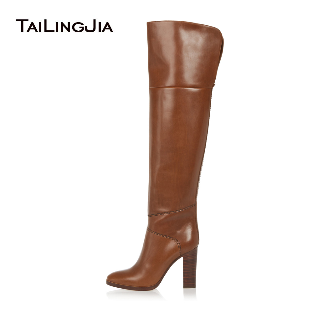 цена на 2017 Women Round Toe Brown Over the Knee High Boots Ladies Chunky Heel Winter Shoes Classic High Heel Long Boots Plus Size