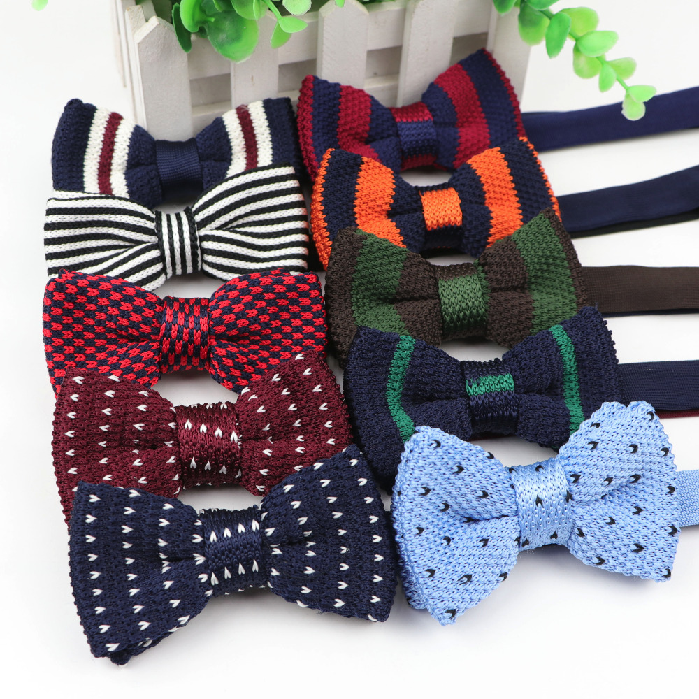 Kid Neck Ties Tuxedo Knitted Bowtie Children Bow Tie Thick One Deck Pre Tied Adjustable Knitting Casual Ties