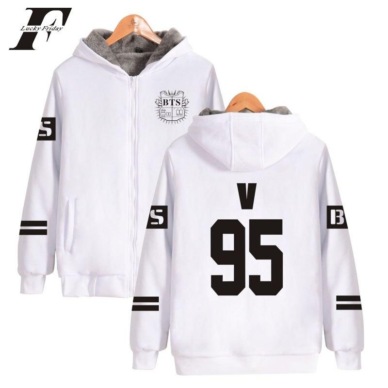 2017 BTS Kpop Thick zipper oversized Hoodies Sweatshirts Zipper men/women moletom Winter Cotton Coat bangtan boys tracksuit