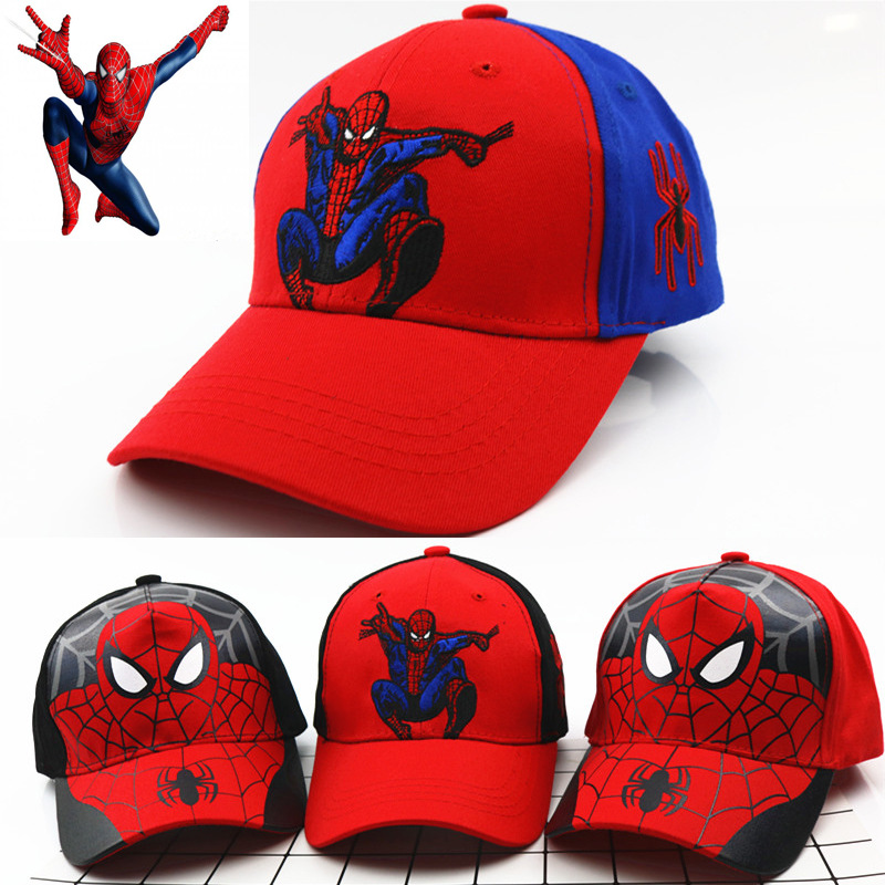 Spiderman Cartoon Children Embroidery Cotton Cosplay Baseball Cap kids Boy Girl Hip Hop Hat Spiderman Cosplay hat