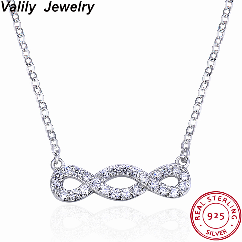 Valily 100% 925 Sterling Silver Infinity Women Pendant Necklaces Choker Lucky Number Eight Geometric Necklaces for Women Gift