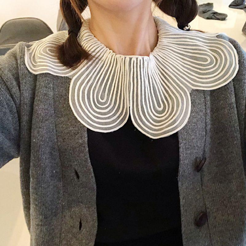 Fashion Lace Big Lapel Blouse Fake False Collar Clothes Shirt Detachable Collars