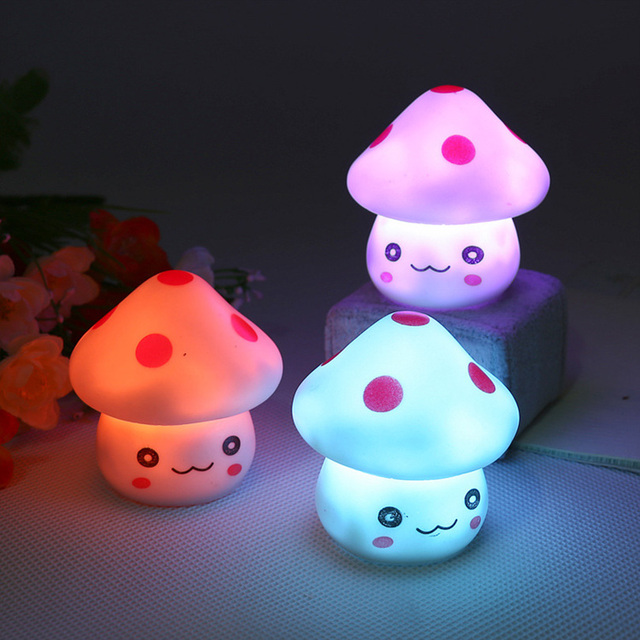 Romantic Colorful Mushroom Christmas LED Night Light Lamp Child Bedroom Desk Bedside Lamp for Baby Kids Christmas Holiday Gifts