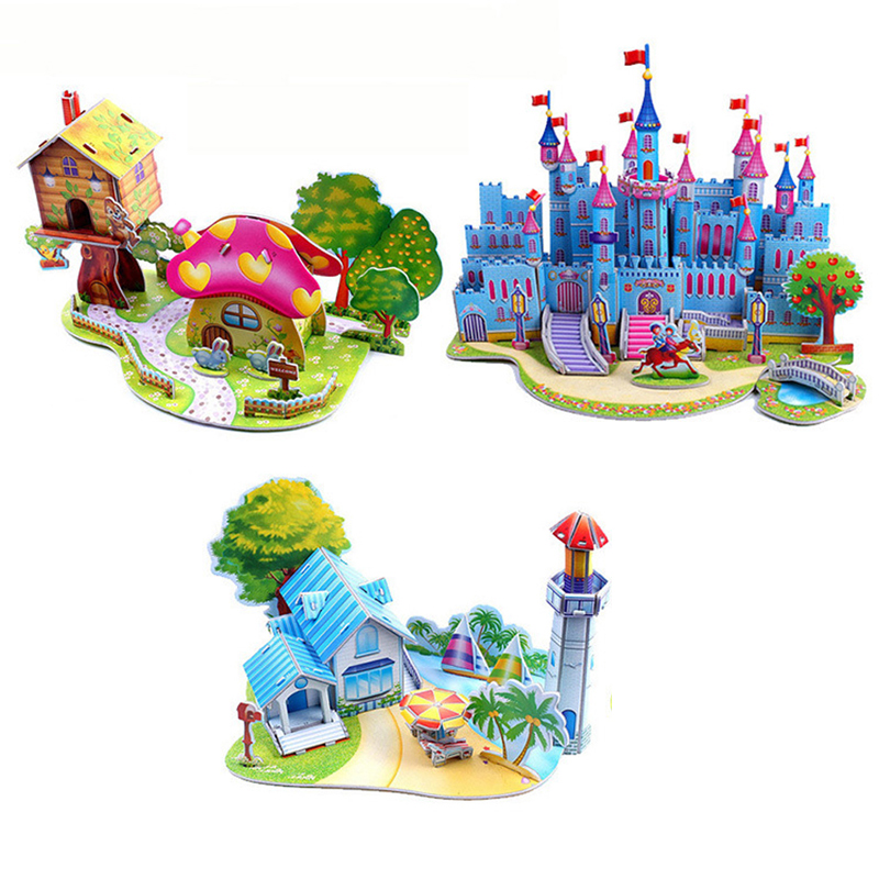 Brinquedo Education Jigsaw Puzzles For Kids Children Toys Developmental 3D DIY Puzzle Lovely Paper Castles Houses TY0002 ozaki o coat 0 3 jelly чехол для iphone 7 pink