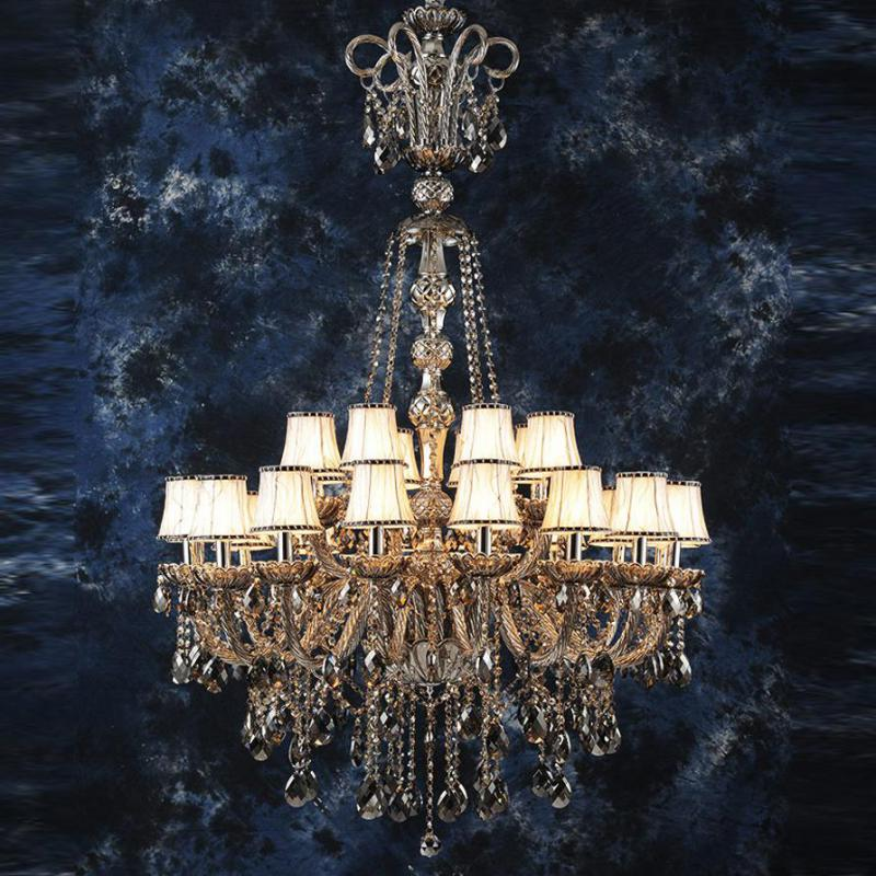 155cm large smoke crystal chandeliers for living room Hotel lobby Long Retro Led chandelier lighting long stair lighting lustre