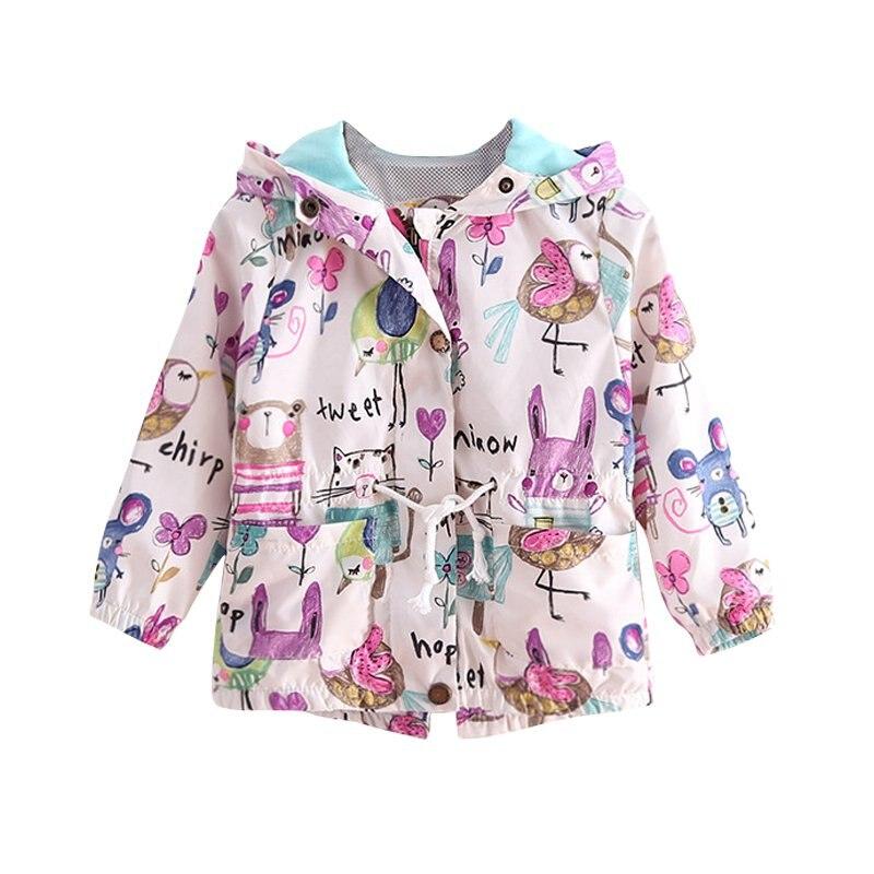 Spring Children Clothing Baby Girl Jacket Cartoon Printing Windbreaker Long-Sleeved Zipper Jacket Hooded Baby Girl Coat Clothes