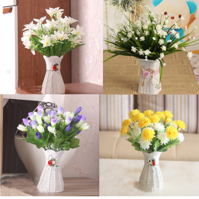 One Set Artificial Flower Plastic Vase Silk Flowers For Home Party