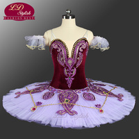 Purple Professional Ballet Tutu With Velvet Pancake Tutu Ballerina LD0045 Stage Dancewear Costumes Adult Classical Ballet