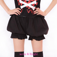 Girls Sweet Cute Black/White Cotton Safety Short Pants Lolita Bloomers Summer Pumpkin Shorts