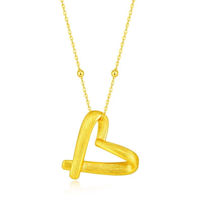 Pur 24 K or jaune coeur collier pendentif femmes 3D coeur pendentifPur 24 K or jaune coeur collier pendentif femmes 3D coeur pendentif
