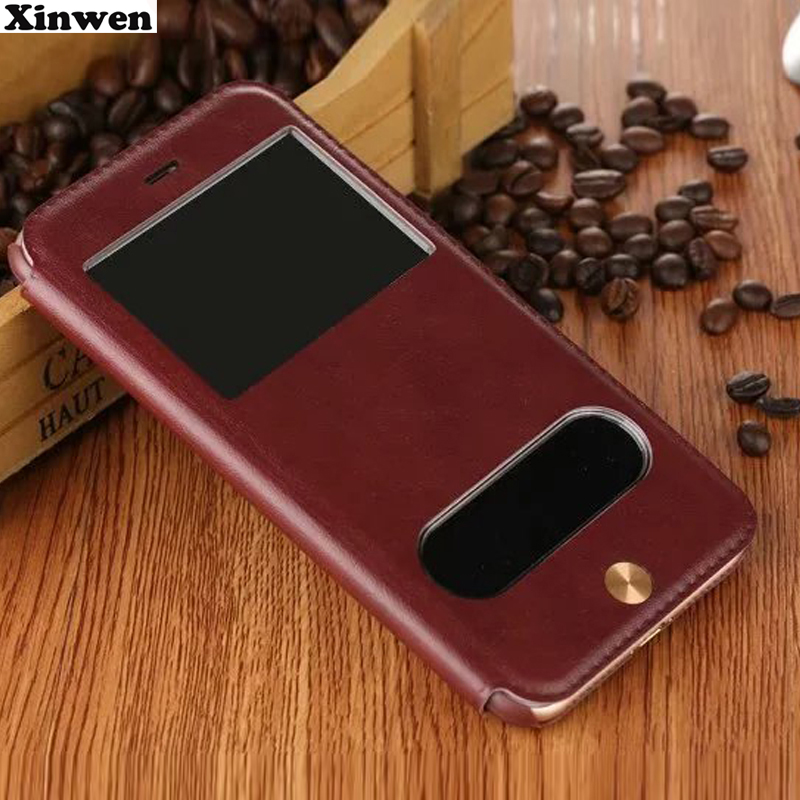 XinWen luxury flip leather coque cover case for apple iphone 7plus 7splus 7 7s plus 5.5 fashion pu view phone stand window cases