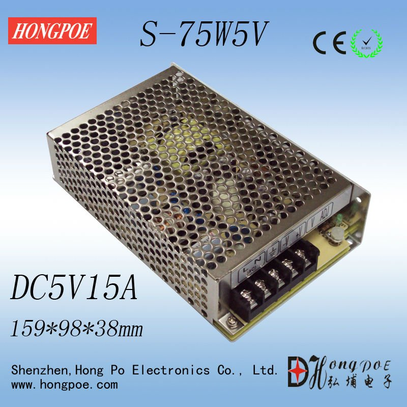 Best quality 5V 15A 75W Switching Power Supply Driver for LED Strip AC 100-240V Input to DC 5V free shipping