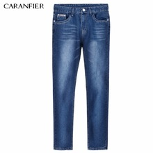 CARANFIER Jeans Casual Denim Pants Classic Whiskering Straight Blue Jeans Masculina Male Denim Trousers Cotton 28 29 30 34 36