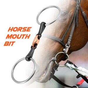 Image 2 - Cavalo de aço inoxidável boca bit pedaço da boca cavalo equestre snaffle cobre link bit cavalo corrida acessório