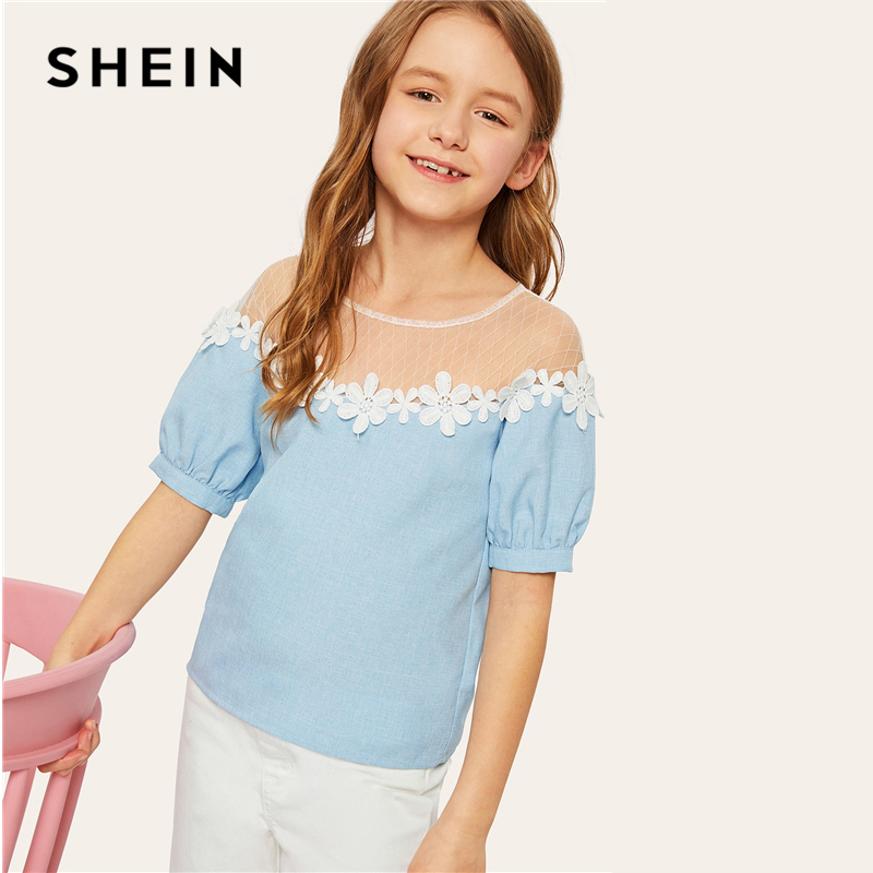 SHEIN Pink Solid Blue Sheer Button Beaded Collar Elegant Blouse Girl Kids Clothes 2019 Summer Puff Sleeve Girls ShirtsSHEIN Pink Solid Blue Sheer Button Beaded Collar Elegant Blouse Girl Kids Clothes 2019 Summer Puff Sleeve Girls Shirts