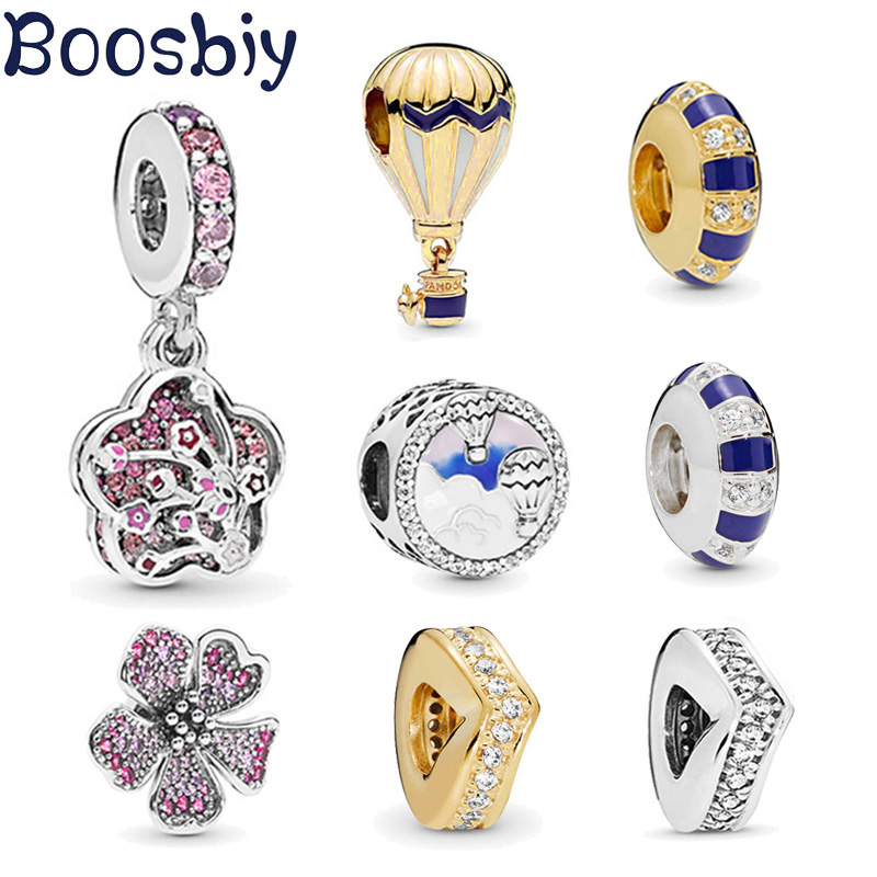 Boosbiy 2pc New Arrival Silver Color Hot Air Balloon Globe Trip Charms Fit European Style Pandora Bracelet DIY Jewelry for Women