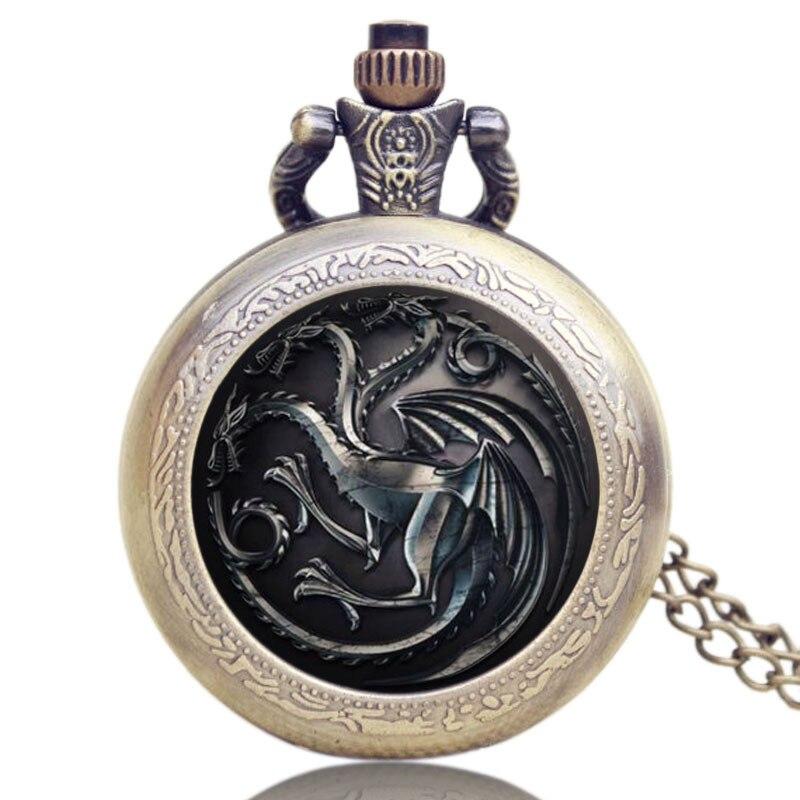 Unisex Steampunk Bronze Dragon Men Women Quartz Pocket Watch Antique Style Stereo Carve Patterns Watces Necklace Pendant Clock