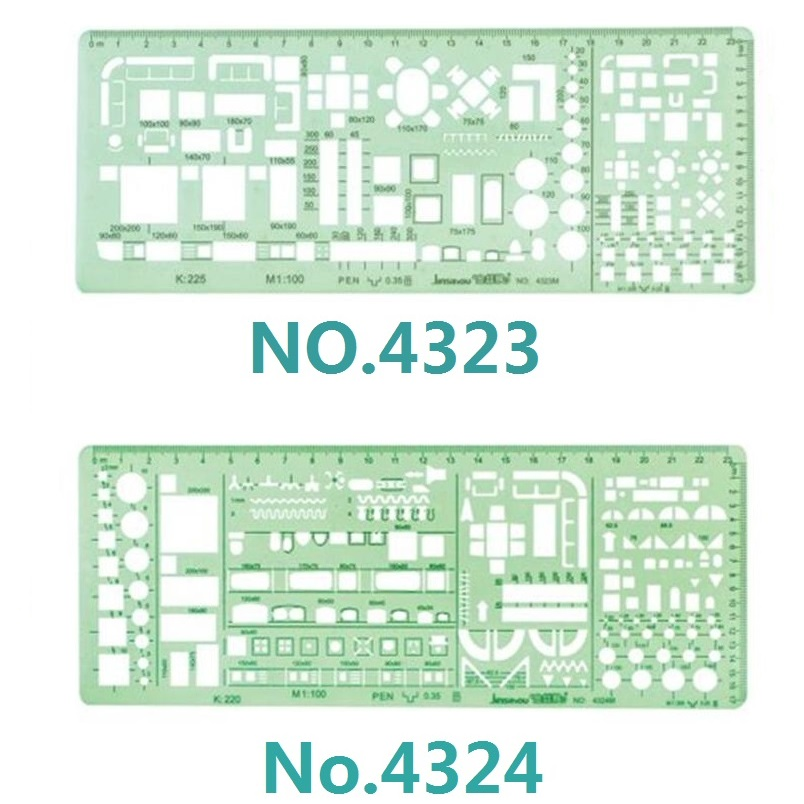 1:100 And 1:200 Double Scale Template Architect Combination Multi Design Stencil Symbols Technical Drafting Drawing No.4323/4324