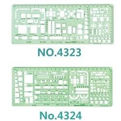 1:100 e 1:200 modelo de dupla escala combinação arquiteto multi design símbolos estêncil desenho técnico n° 4323/4324