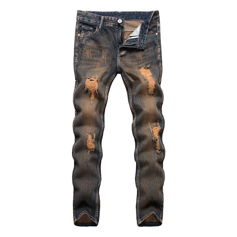 2018 New Spring Summer Ripped Denim Jeans For Men Hole Destroyed Design Slim Trousers Jeans Homme
