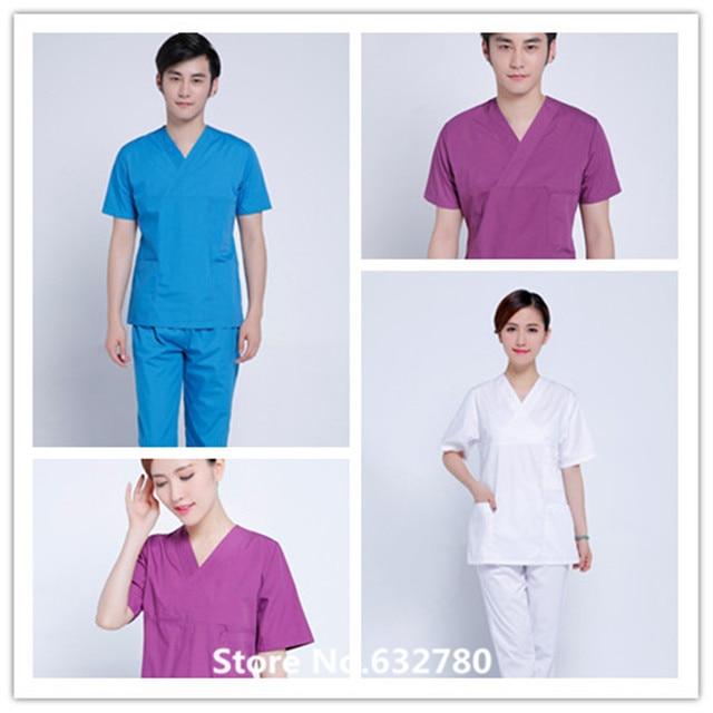 6b53a87af12 New fashion V-neck nurse doctor dental scrubs surgical suit gowns for women  men hospital