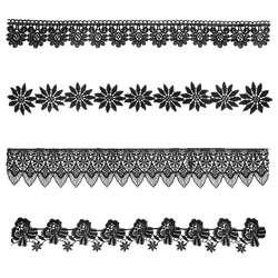 1 ярд черный цветочный узор вышивки кружевная лента свадебные Свадебное платье DIY Швейные Костюмы украшения Аксессуары