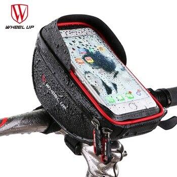 휠 위로 방수 mtb 도로 자전거 자전거 앞 가방 사이클링 탑 튜브 프레임 핸들 바 6.0 인치 사이클링 파우치 핸드폰 가방