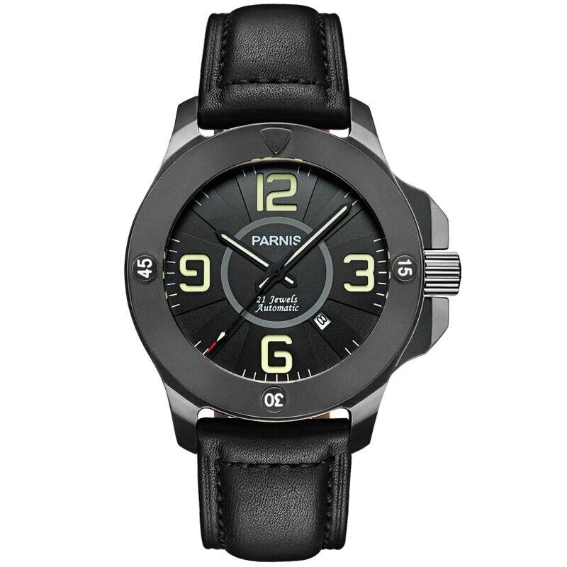 Parnis Commander Seriers Luminous Mens Sapphire Glass Leather Watchband Military Sport Automatic Mechanical font b Watch