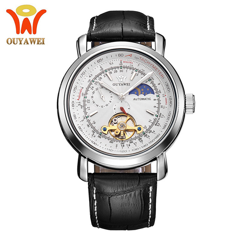 Automatic Mechanical Watch Men Tourbillon Moon Phase Business Designer Watch Mens Watches Top Brand Luxury Fashion High Quality