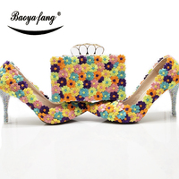 BaoYaFang New arrival Womens wedding shoes with matching bags Pointed Toe Multicolored flower shoes and purse sets thin heel