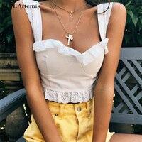 M.H.Artemis White ruffle strap crop top Zipper back hollow out lace camisole tank top women Vintage Streetwear crop top bralette