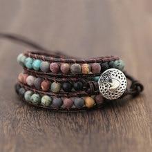 Pulseiras de couro vintage 6mm fosco pedra natural 3 fios wrap pulseiras femininas multicamadas boho pulseira artesanal jóias