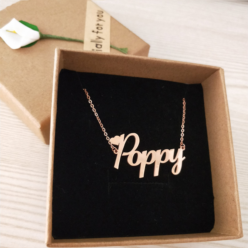 Customized Font Name Charm Necklace Personalized Custom Hands