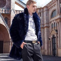 2018 New Winter Fashion Men Thick Faux Fox Fur Jacket Long Style Business Man Office Work Casual Coats Punk Party Overcoats 3XL