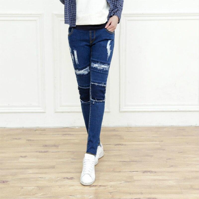 Vårhöst gravida kvinnor byxor moderskap jeans rippade Jeans Abdominal justerbar Gravid kvinna penna byxor långbyxor