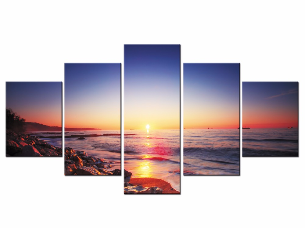 5 Pieces Seascape Canvas Prints Artwork Sunrise Modern Pictures Sunset Sea Beach Painting Print Home Decorative Framed J009 029 in Painting Calligraphy from Home Garden