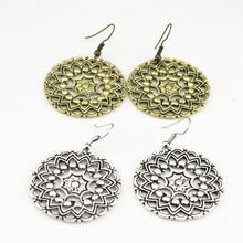 Lot 2 Pairs 2 Colors Bohemian Retro Style Carving  Hollow Flower Round Dangle Earrings  Ear Jewelry 2 lot