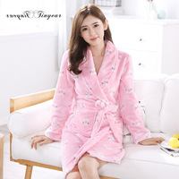 TInyear Hot sale Flannel Warm Long Bathrobe Women Dressing Gown Bride Kimono Bath Robe Femme Bridesmaid Robes Wedding Gowns