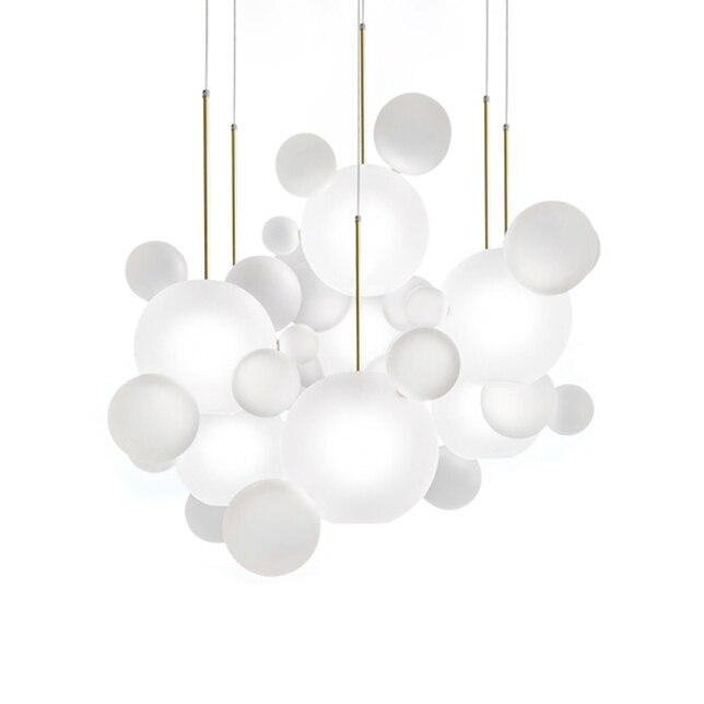 Новая классическая стеклянный шар подвесные светильники фойе матовое молочно белый Стекло Тень пузыря droplight Отель Ресторан украшения свет