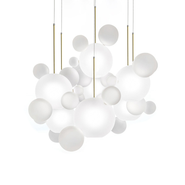 New classical glass ball pendant lights foyer frosted milky white glass shade bubble droplight hotel restaurant decoration light