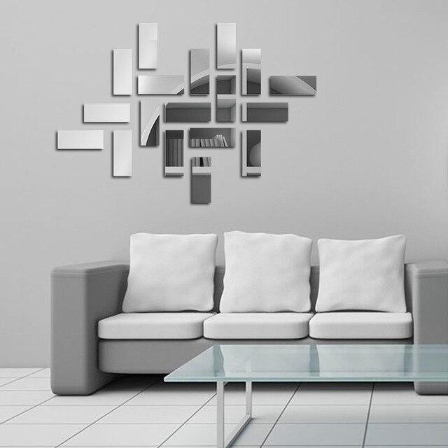 Piazze geometriche Specchio Adesivi Murali Fai Da Te Home Decor ...