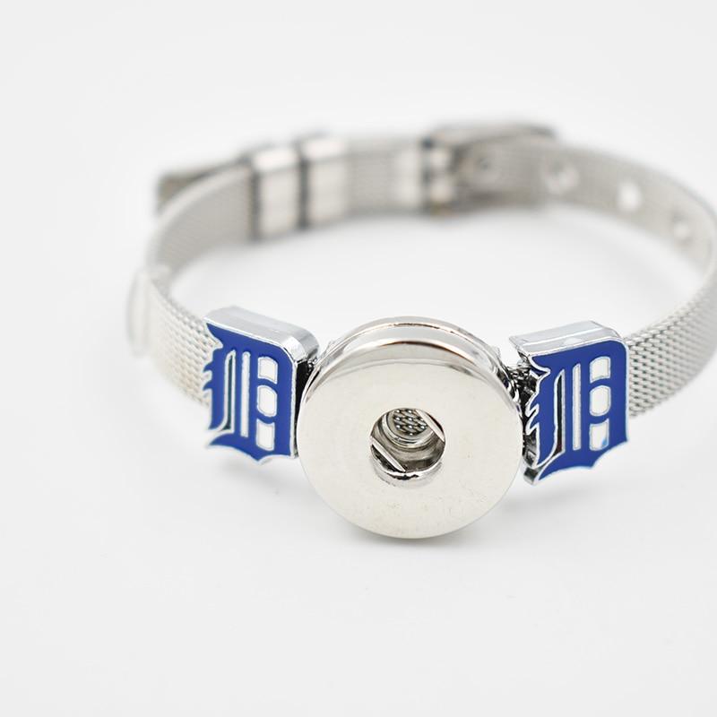 Detroit Tigers 2018 Enamel Slide Charms Bracelet 8MM Net 18MM Snap Button Bracelet(Stainless Steel Bracelet)