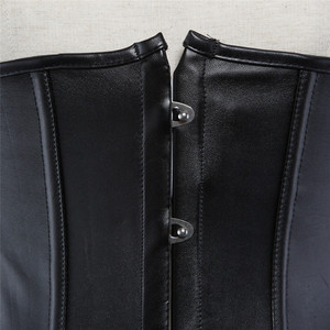 Image 3 - Sapubonva pu underbust corset leather black synthetic gothic punk waist cincher sexy cupless corset bustier top ladies party
